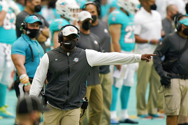 Miami Dolphins head coach Brian Flores gestures during the second half of an NFL football game against the Cincinnati Bengals, Sunday, Dec. 6, 2020, in Miami Gardens, Fla. (AP Photo/Wilfredo Lee)