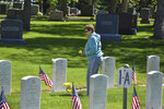 Sharon Oakland, 78, is seen after placing a pot of mums at the grave of her late father, John Munari, who was in the U.S. Navy during World War II, at the Mountview Cemetery in Billings, Mont., on Memorial Day, Monday, May 25, 2020. Oakland was glad to see flags set out for Memorial Day despite the coronavirus.  (AP Photo/Matthew Brown)