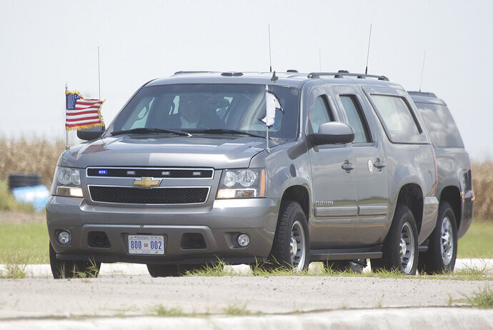 US Vice President Mike Pence's motorcade enters the migrant tent city on Friday, July 12, 2019, in Donna, Texas. (Joel Martinez/The Monitor via AP)