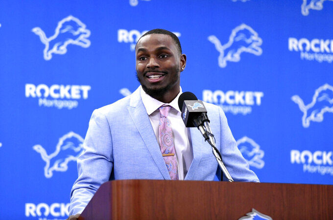 Detroit Lions cornerback Justin Coleman speaks  during a press conference at the NFL football team's training facility in Allen Park, Mich., Thursday, March 14, 2019. (David Guralnick/Detroit News via AP)