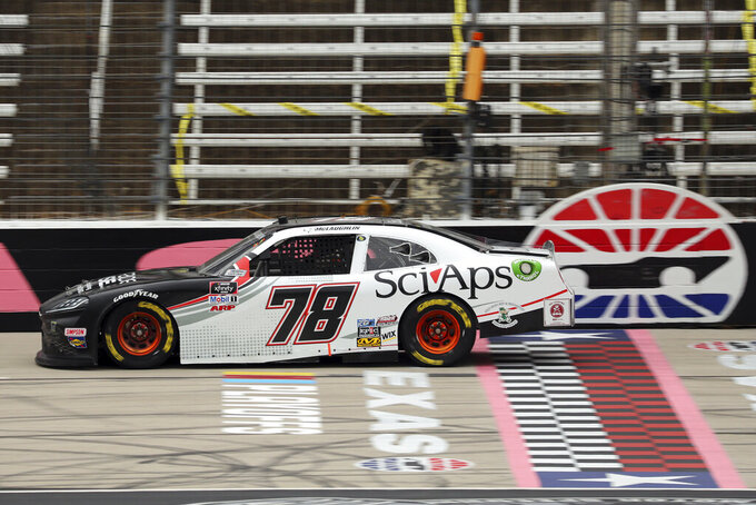 NASCAR Xfinity Series driver CJ McLaughlin (78) goes down the front stretch during a NASCAR Xfinity Series auto race at Texas Motor Speedway in Fort Worth, Texas, Saturday Oct. 24, 2020. (AP Photo/Richard W. Rodriguez)