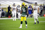 Green Bay Packers' Za'Darius Smith (55) displays the name of Breonna Taylor on his shirt after sacking Atlanta Falcons quarterback Matt Ryan during the second half of an NFL football game, Monday, Oct. 5, 2020, in Green Bay, Wis. (AP Photo/Mike Roemer)