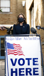 Michigan Secretary of State Jocelyn Benson speaks to members of the press at her polling location, Pasteur Elementary School, during primary election day Tuesday Aug. 4, 2020 in Detroit. (Nicole Hester/Mlive.com/Ann Arbor News via AP)