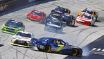 The cars of Justin Allgaier (7) spins as he starts a chain reaction crash during a NASCAR Xfinity Series auto race on Saturday, April 14, 2018 in Bristol, Tenn. (AP Photo/Wade Payne)