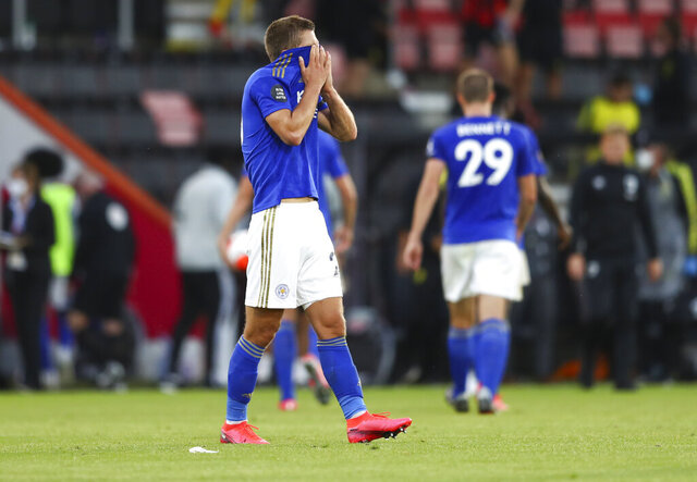 Leicester's Dennis Praet reacts after the English Premier League soccer match between Bournemouth and Leicester City at Vitality Stadium in Bournemouth, England, Sunday, July 12, 2020. (AP Photo/Michael Steele,Pool)