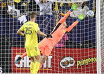 Nashville SC goalkeeper Joe Willis, right, cannot reach a goal by Atlanta United midfielder Emerson Hyndman (not shown) during the first half of an MLS soccer game in Nashville, Tenn., Saturday, Feb. 29, 2020.  Nashville defender Walker Zimmerman (25) looks on. (Andrew Nelles/The Tennessean via AP)