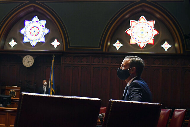 Connecticut Senate Majority Leader Bob Duff, D-Norwalk, watches as votes come in during special session at the State Capitol, Tuesday, July 28, 2020, in Hartford, Conn. (AP Photo/Jessica Hill)