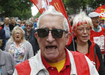 A retired man shouts during a rally in Paris, France, Thursday, June 14, 2018. Thousands of retired French workers have taken to the streets across the country over a tax hike on their pensions. (AP Photo/Michel Euler)