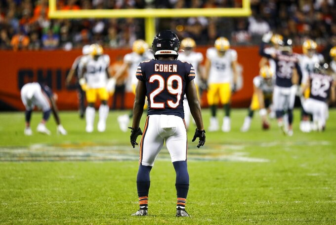 Chicago Bears' Tarik Cohen waits to return a punt during the second half of an NFL football game against the Green Bay Packers Thursday, Sept. 5, 2019, in Chicago. (AP Photo/Charles Rex Arbogast)
