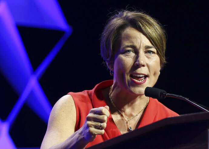 FILE - In this June 1, 2018 file photo, Massachusetts Attorney General Maura Healey speaks at the 2018 Massachusetts Democratic Party Convention in Worcester, Mass. Massachusetts has sued a national retailer of electronic cigarette and vaping products, alleging the company violated state law by targeting minors for sales of its merchandise, Attorney General Maura Healey announced Thursday, May 30, 2019. (AP Photo/Elise Amendola, File)