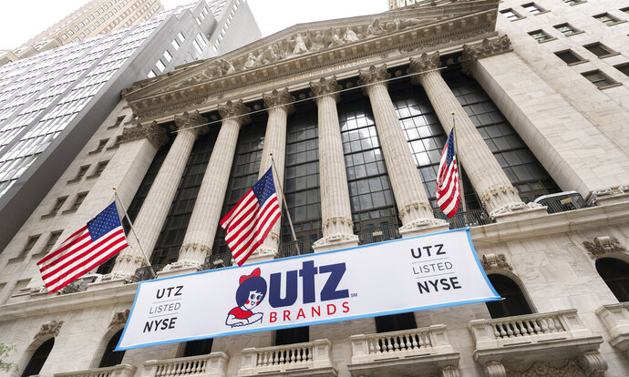 A banner for Utz Brands, which is listed at the New York Stock Exchange, hangs on the exterior of the building, Monday, Aug. 31, 2020, in New York. The Hanover, Pa. based company is known for its potato chips and snack foods. (AP Photo/Mark Lennihan)