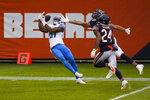 Detroit Lions wide receiver Quintez Cephus (87) makes a catch for a touchdown against the Chicago Bears in the first half of an NFL football game in Chicago, Sunday, Dec. 6, 2020. (AP Photo/Charles Rex Arbogast)