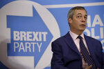 Nigel Farage the leader of the Brexit Party takes questions from journalists during an election press conference in London, Tuesday, Dec. 10, 2019. Britain goes to the polls on Dec. 12. (AP Photo/Matt Dunham)