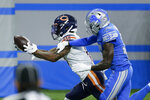 Chicago Bears wide receiver Anthony Miller catches a 27-yard touchdown pass as Detroit Lions cornerback Tony McRae (34) defends in the second half of an NFL football game in Detroit, Sunday, Sept. 13, 2020. Chicago won 27-23. (AP Photo/Duane Burleson)
