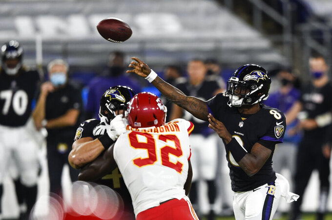 Baltimore Ravens quarterback Lamar Jackson (8) throws during the first half of an NFL football game against the Kansas City Chiefs, Monday, Sept. 28, 2020, in Baltimore. (AP Photo/Gail Burton)