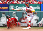 Arizona Diamondbacks' Ildemaro Vargas, left, is out at second as St. Louis Cardinals second baseman Kolten Wong, right, turns the double play during the fifth inning of a baseball game Sunday, July 14, 2019, in St. Louis. (AP Photo/Jeff Roberson)