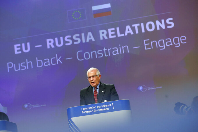 European Union foreign policy chief Josep Borrell speaks during a news conference at the European Commission headquarters in Brussels, Wednesday, June 16, 2021. Borrell unveiled a new set of proposals for the EU to deal with an increasingly authoritarian Russia, and his report will be discussed by the bloc's leaders at a summit next week. (Johanna Geron/Pool Photo via AP)