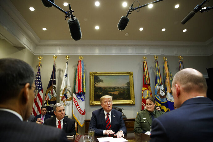 President Donald Trump speaks during a briefing on drug trafficking at the southern border in the Roosevelt Room of the White House, Wednesday, March 13, 2019, in Washington. (AP Photo/ Evan Vucci)