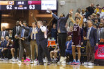 The Texas A&M bench celebrates a basket in the final seconds of the second half of an NCAA college basketball game against Missouri Tuesday, Jan. 21, 2020, in Columbia, Mo. Texas A&M won the game 66-64. (AP Photo/L.G. Patterson)