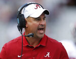 FILE - In this April 22, 2017, file photo, Alabama defensive coordinator Jeremy Pruitt, coach of the White team, yells to his team during Alabama's annual A-Day spring NCAA college football game in Tuscaloosa, Ala. Tennessee coach Jeremy Pruitt speaks from experience when he says this may be the best Alabama team of Nick Saban's 12-year tenure. Pruitt was part of Saban's staff for four national championship teams. Now he's a first-year head coach preparing to face the top-ranked Tide. (Gary Cosby Jr./The Tuscaloosa News via AP, File)