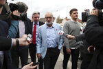 Britain's main opposition Labour Party leader Jeremy Corbyn during a visit to St Ninian's Church community centre in Dunfermline, Scotland, on the first day of a three day tour of Scottish constituencies, Thursday Aug. 29, 2019.  Briain's Prime Minister Boris Johnson has made an audacious proposition to enable his government's Brexit plan, to suspend parliament for key weeks ahead of Britain's Oct. 31 Brexit departure date. (Andrew Milligan/PA via AP)