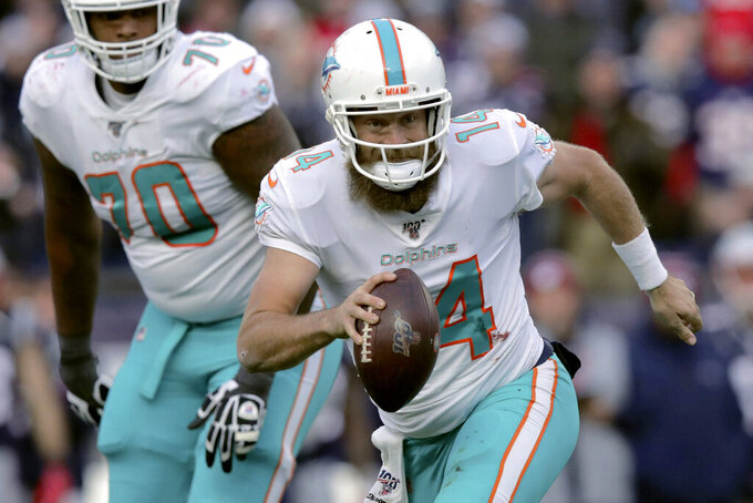 FILE - In this Dec. 29, 2019, file photo, Miami Dolphins quarterback Ryan Fitzpatrick scrambles during the second half of an NFL football game against the New England Patriots in Foxborough, Mass. Fitzpatrick says he wants to play next season at age 37, and he'll likely be back with the Miami Dolphins. Coach Brian Flores said last week he expected Fitzpatrick to return.  (AP Photo/Charles Krupa, File)