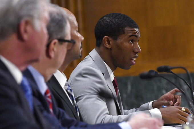 National Collegiate Athletic Association Student-Athlete Advisory Committee Chair Kendall Spencer testifies during a Senate Commerce subcommittee hearing on Capitol Hill in Washington, Tuesday, Feb. 11, 2020, on intercollegiate athlete compensation. (AP Photo/Susan Walsh)