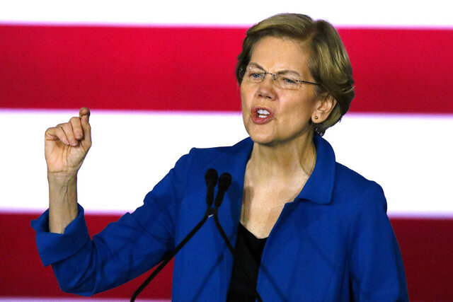 Democratic presidential candidate Sen. Elizabeth Warren, D-Mass., speaks to supporters at a primary election night rally, Tuesday, Feb. 11, 2020, in Nashua, N.H. (AP Photo/Bill Sikes)