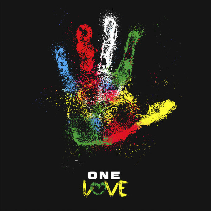 """This cover image released by Tuff Gong International and Amplified Music shows art for the single """"One Love.""""  The family of reggae legend Bob Marley are covering his song """"One Love"""" to raise money for coronavirus relief efforts. (Tuff Gong International/Amplified Music via AP)"""