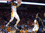 Tennessee forward Yves Pons (35) dunks the ball during the first half of an NCAA college basketball game against Missouri Tuesday, Feb. 5, 2019, in Knoxville, Tenn. (AP photo/Wade Payne)