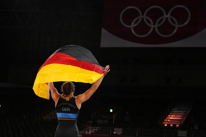 Germany's Aline Rotter Focken celebrates defeating United States Adeline Maria Gray during the women's 76kg freestyle wrestling final match at the 2020 Summer Olympics, Monday, Aug. 2, 2021, in Chiba, Japan. (AP Photo/Aaron Favila)