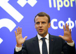 French President Emmanuel Macron speaks during a media conference at an EU and Western Balkan heads of state summit at the National Palace of Culture, in Sofia, Bulgaria, Thursday, May 17, 2018. (AP Photo/Darko Vojinovic)
