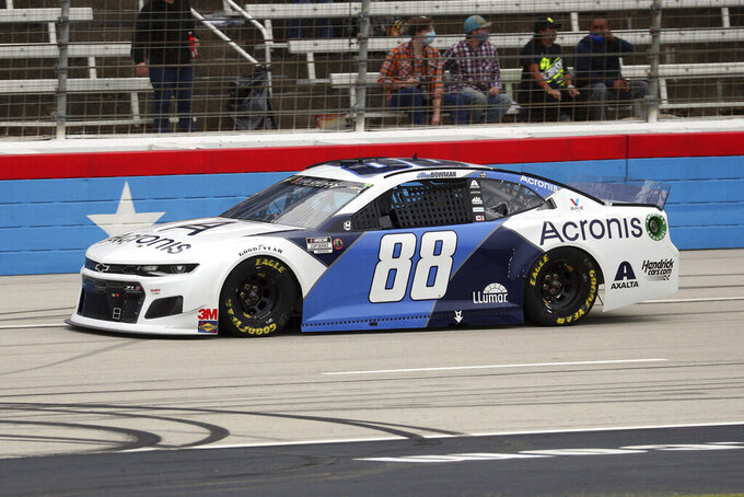 Alex Bowman (88) drives down the front stretch during a NASCAR Cup Series auto race at Texas Motor Speedway in Fort Worth, Texas, Sunday, Oct. 25, 2020. (AP Photo/Richard W. Rodriguez)