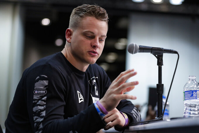 LSU quarterback Joe Burrow speaks during a press conference at the NFL football scouting combine in Indianapolis, Tuesday, Feb. 25, 2020. (AP Photo/Michael Conroy)