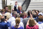 President Donald Trump waves after signing an executive order during a Made in America showcase on the South Lawn of the White House, Monday, July 15, 2019, in Washington. (AP Photo/Alex Brandon)