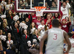 Saint Joseph's fans cheer after Saint Joseph's guard Cameron Brown (3) made a three point shot during the second half of an NCAA college basketball game against Villanova, Saturday, Dec. 7, 2019, in Philadelphia. Villanova won 78-66. (AP Photo/Laurence Kesterson)