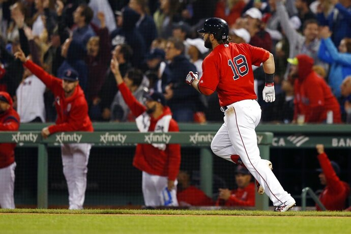 Boston Red Sox's Mitch Moreland runs on his three-run home run during the fourth inning of the team's baseball game against the New York Yankees in Boston, Friday, Sept. 6, 2019. (AP Photo/Michael Dwyer)
