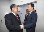 South Korea's Unification Minister Cho Myoung-gyon, right, shakes hands with Ri Son Gwon, chairman of the North's Committee for the Peaceful Reunification, during an opening ceremony for two Koreas' first liaison office in Kaesong, North Korea, Friday Sept. 14, 2018. The rival Koreas on Friday launched their first liaison office near their tense border to facilitate better communication and exchanges ahead of their leaders' summit in Pyongyang next week. (Korea Pool/Yonhap via AP)