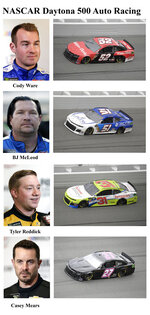 In these photos taken in February 2019, qualifying drivers and their cars in the starting field for Sunday's NASCAR Daytona 500 auto race are shown at Daytona International Speedway in Daytona Beach, Fla. They are, from top, Row 19, Cody Ware, BJ McLeod, Row 20, Tyler Reddick and Casey Mears. (AP Photo)
