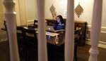 Charvi Goyal, 17, gives an online math tutoring session from her family's home Monday, Jan. 4, 2021, in Plano, Texas. Goyal is part of a group of high school students that put together their own volunteer online tutoring service to help k-12 during the pandemic. (AP Photo/LM Otero)