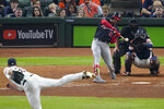 Washington Nationals' Juan Soto hits a home run off Houston Astros starting pitcher Justin Verlander during the fifth inning of Game 6 of the baseball World Series Tuesday, Oct. 29, 2019, in Houston. (AP Photo/Eric Gay)