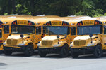 """FILE - In this Thursday, June 25, 2020 file photo, school buses are parked behind an elementary School in Pottsville, Pa. On Friday, July 10, 2020, The Associated Press reported on stories circulating online incorrectly asserting """"Teachers are the number one occupation of the antifa terrorist organization according to the FBI."""" The FBI told The Associated Press it """"has not made any such statements about the occupations of people who are attracted to particular ideologies."""" (Lindsey Shuey/Republican-Herald via AP)"""