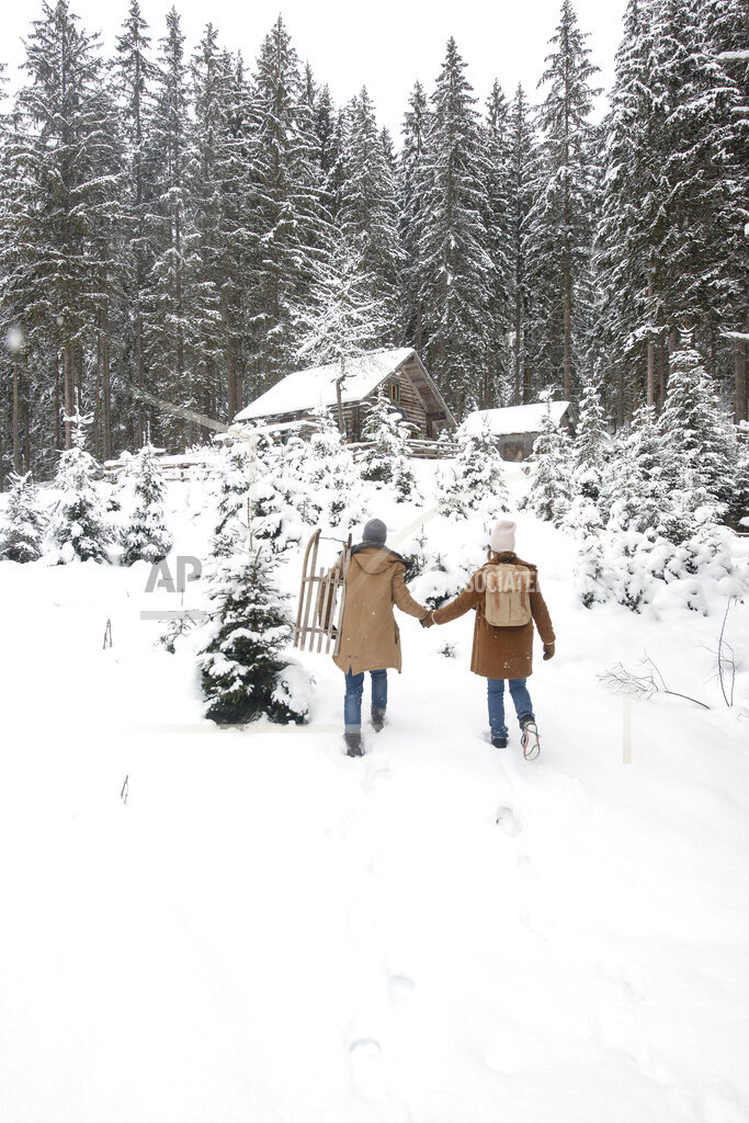Young couple with sled walking on snow in forest