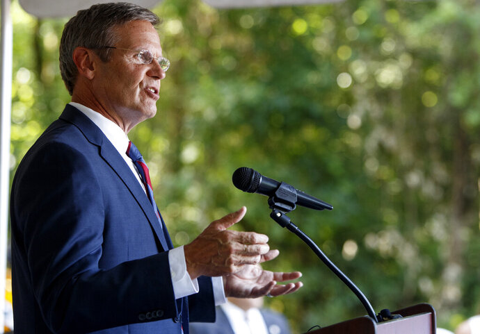 FILE - In this July 9, 2019, file photo Tennessee Gov. Bill Lee speaks during a groundbreaking ceremony for the new soccer club stadium in East Ridge, Tenn. Tennessee would become the first state in the nation to receive its Medicaid funding in a lump sum under a proposal seeking to drastically overhaul the program that provides health care services to low-income and disabled residents. Nearly four months after Lee signed off on the idea, state officials released details of the estimated $7.9 billion Medicaid block grant plan Tuesday, Sept. 17 with the intent of submitting the final product to the federal government in November. (C.B. Schmelter/Chattanooga Times Free Press via AP, File)