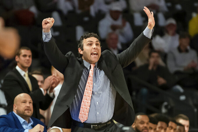 FILE - In this Jan. 25 2020, file photo, Georgia Tech head coach Josh Pastner calls a play in the first half of an NCAA college basketball game against North Carolina State, in Atlanta. The Gators open Nov. 25 against Maine at a resort casino on tribal land in Connecticut. They face No. 4 Virginia two days later and have early season road games scheduled against Oklahoma (Dec. 2) and 21st-ranked Florida State (Dec. 12).(AP Photo/Danny Karnik, File)