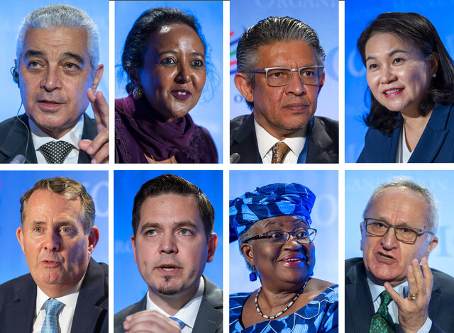 This photo combo shows the candidates for the WTO Director-General selection process at the headquarters of the World Trade Organization (WTO) in Geneva, Switzerland, pictured from Wednesday to Friday, July 15 - 17, 2020. Top row form left, Abdel Hamid Mamdouh, of Egypt, Amina Mohamed, of Kenya, Mohammad Maziad Al-Tuwaijri, of Saudi Arabia, and Yoo Myung-hee, of Korea. Bottom row from left,  Liam Fox, of United Kingdom, Tudor Ulianovschi, of Moldova, Ngozi Okonjo-Iweala,of Nigeria and Jesus Seade Kuri, of Mexico. (Martial Trezzini, Salvatore Di Nolfi/Keystone via AP)