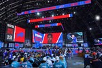 A screen displays the Buffalo Bills pick of Marquez Stevenson, wide receiver from Houston, during the sixth round of the NFL football draft, Saturday, May 1, 2021, in Cleveland. (AP Photo/Tony Dejak)