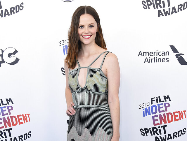 FILE - In this March 3, 2018 file photo, actress Sarah Ramos arrives at the 33rd Film Independent Spirit Awards in Santa Monica, Calif. Ramos has recreated other notable scenes from TV and film and aims to post one a week online during the downtime caused by the outbreak of COVID-19. She calls them quarantscenes. Sometimes a friend such as Dylan O'Brien, Aubrey Plaza or Elle Fanning appear, but Ramos usually acts out all the parts herself. (Photo by Jordan Strauss/Invision/AP, File)