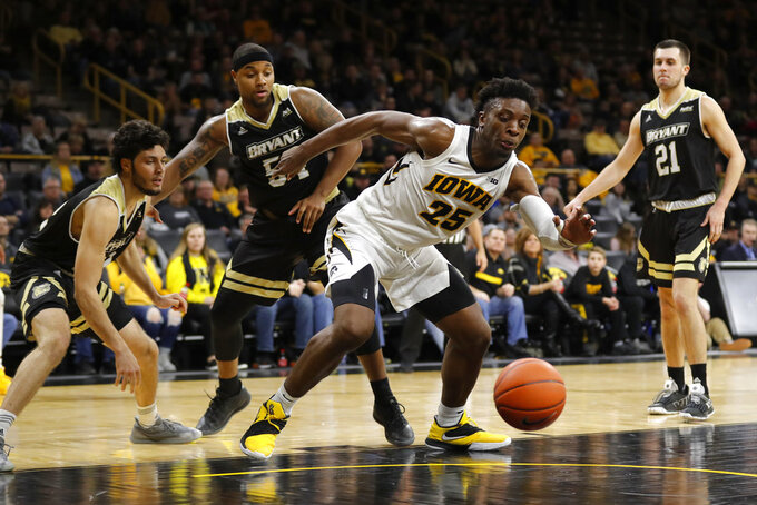 No. 24 Iowa survives lowly Bryant 72-67