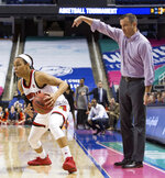 Louisville Head Coach Jeff Walz, right, directs his team as Asia Durr, left, handles the ball during the second half of an NCAA college basketball game against Virginia Tech in the Atlantic Coast Conference tournament in Greensboro, N.C., Friday, March 2, 2018. (AP Photo/Ben McKeown)
